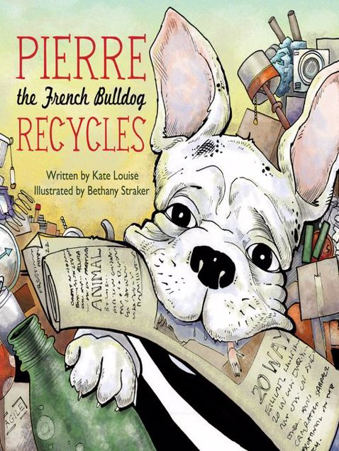 Picture of Pierre the French Bulldog Recycles