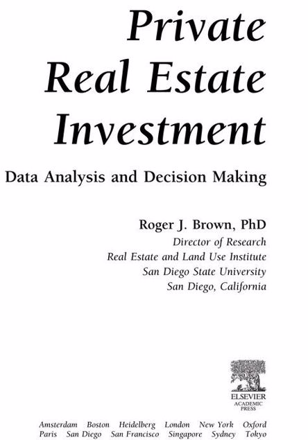 Picture of Private Real Estate Investment: Data Analysis and Decision Making