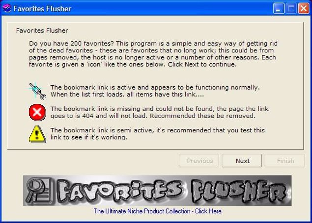 Picture of Favorites Flusher Software
