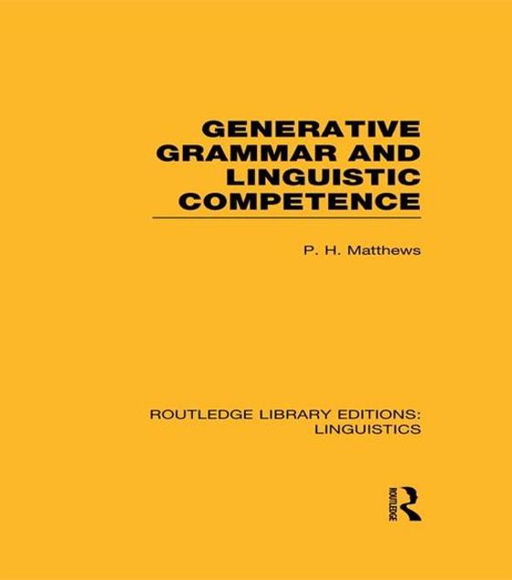 Picture of Enerative Grammar and Linguistic Competence