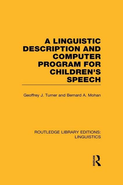 Picture of A Linguistic Description and Computer Program for Children's Speech