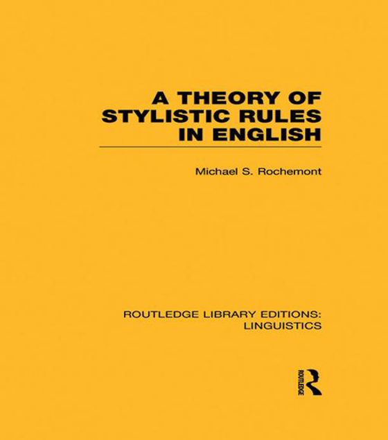 Picture of A Theory of Stylistic Rules in English