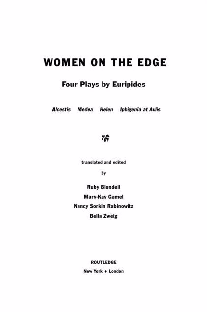 Picture of Women on the Edge: Four Plays by Euripides