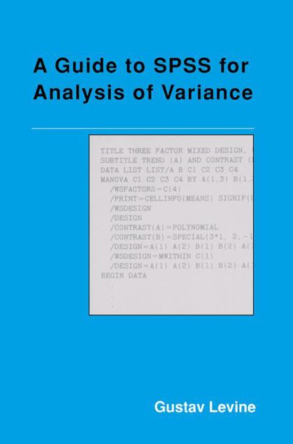 Picture of A Guide to SPSS for Analysis of Variance
