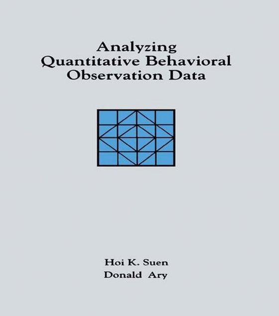 Picture of Analyzing Quantitative Behavioral Observation Data