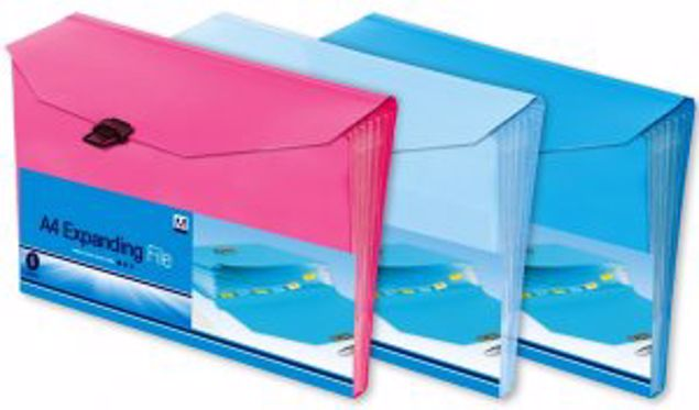 Picture of 6 Pckt A4 Expanding File (Exp 2) Pink