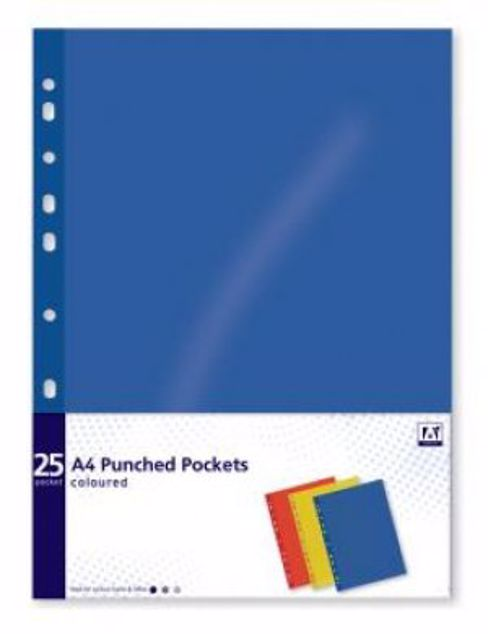 Picture of 25 Pk Coloured Punched Pockets