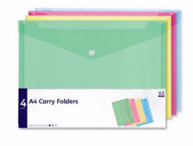 Picture of A4 Carry Folders 4 Pack