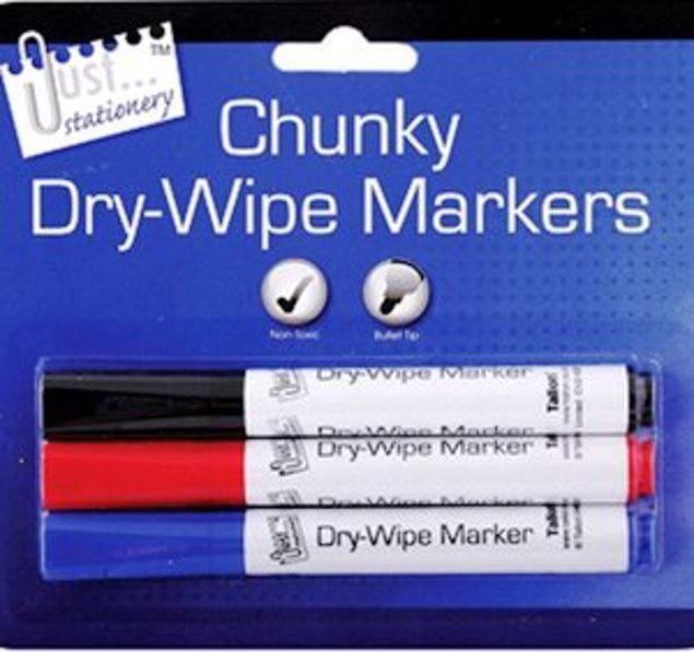 Picture of 3 Chunky Dry-Wipe Board Markers