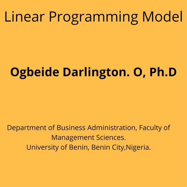 Picture of Linear Programming Model