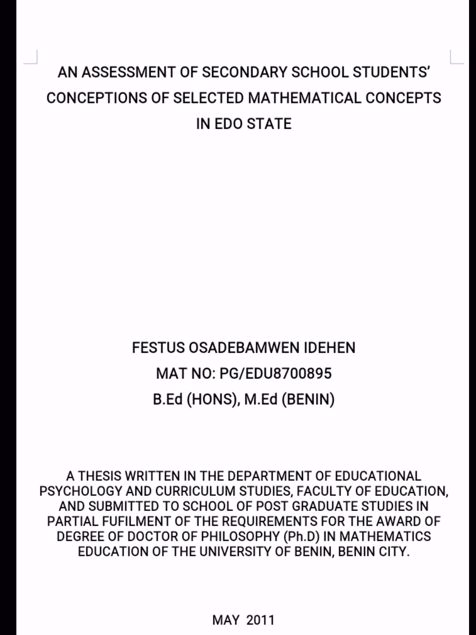 Picture of AN ASSESSMENT OF SECONDARY SCHOOL STUDENTS CONCEPTIONS OF SELECTED MATHEMATICAL CONCEPTS IN EDO STATE