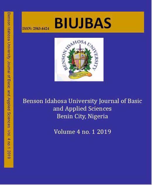 Picture of Benson Idahosa University Journal of Basic and Applied Sciences. Vol Four(4) No 1