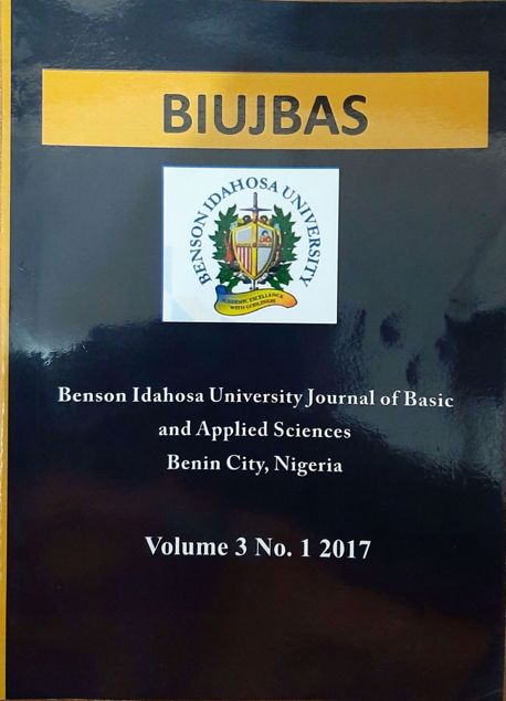 Picture of Benson Idahosa University Journal of Basic and Applied Sciences. Vol Three(3) No 1