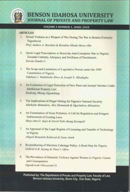 Picture of Benson Idahosa University Journal of Private and Property Law (BIUJPPL) Volume 1 no 1.