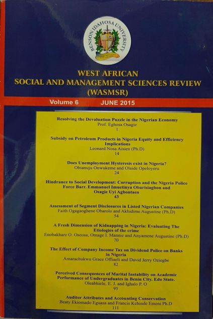 Picture of The West African Social and Management Sciences Review. Vol 6 No 2