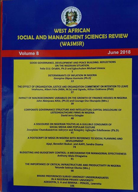 Picture of WEST AFRICAN SOCIAL AND MANAGEMENT SCIENCES REVIEW (WASMSR) VOL 8.