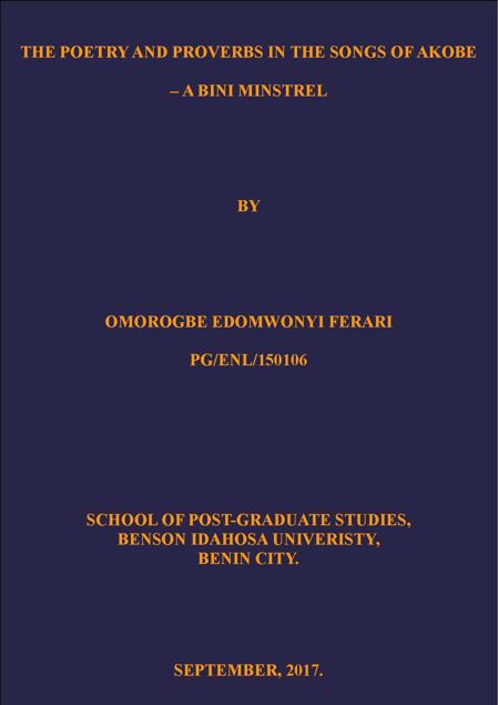 Picture of THE POETRY AND PROVERBS IN THE SONGS OF AKOBE – A BINI MINSTREL