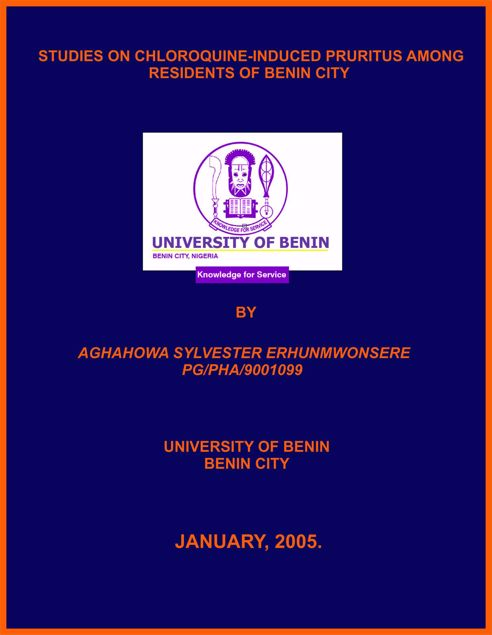 Picture of STUDIES ON CHLOROQUINE-INDUCED PRURITUS AMONG RESIDENTS OF BENIN CITY