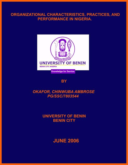 Picture of ORGANIZATIONAL CHARACTERISTICS, PRACTICES, AND PERFORMANCE IN NIGERIA.