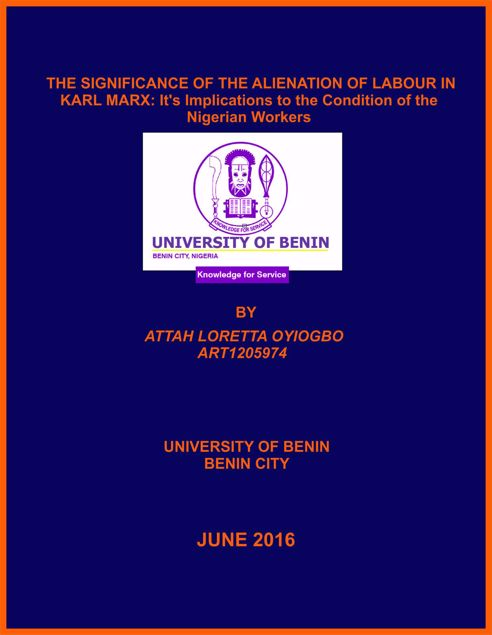 Picture of THE SIGNIFICANCE OF THE ALIENATION OF LABOUR IN KARL MARX: It's Implications to the Condition of the Nigerian Workers