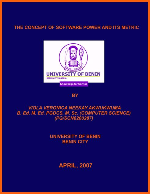 Picture of THE CONCEPT OF SOFTWARE POWER AND ITS METRIC