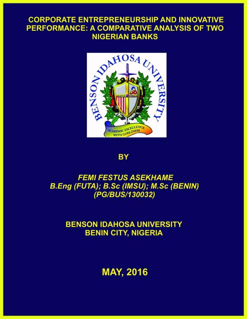 Picture of CORPORATE ENTREPRENEURSHIP AND INNOVATIVE PERFORMANCE: A COMPARATIVE ANALYSIS OF TWO NIGERIAN BANKS