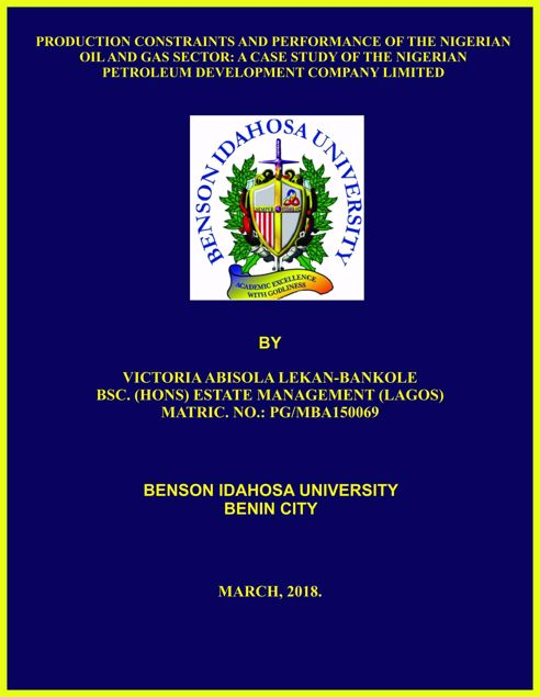 Picture of PRODUCTION CONSTRAINTS AND PERFORMANCE OF THE NIGERIAN OIL AND GAS SECTOR: A CASE STUDY OF THE NIGERIAN PETROLEUM DEVELOPMENT COMPANY LIMITED