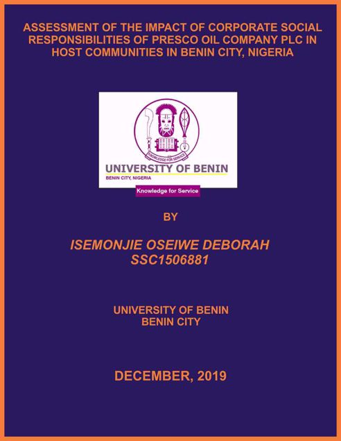 Picture of ASSESSMENT OF THE IMPACT OF CORPORATE SOCIAL RESPONSIBILITIES OF PRESCO OIL COMPANY PLC IN HOST COMMUNITIES IN BENIN CITY, NIGERIA