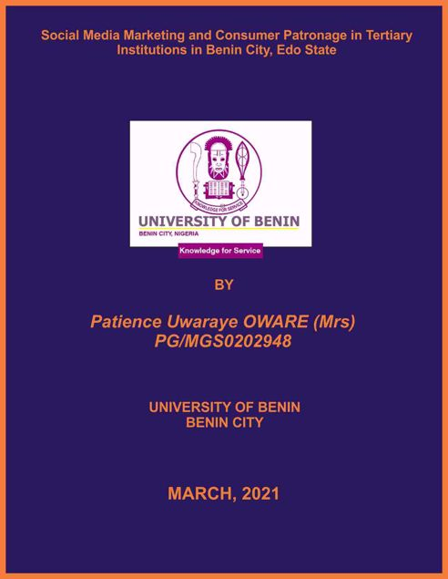 Picture of Social Media Marketing and Consumer Patronage in Tertiary Institutions in Benin City, Edo State