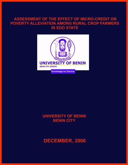 Picture of ASSESSMENT OF THE EFFECT OF MICRO-CREDIT ON POVERTY ALLEVIATION AMONG RURAL CROP FARMERS IN EDO STATE