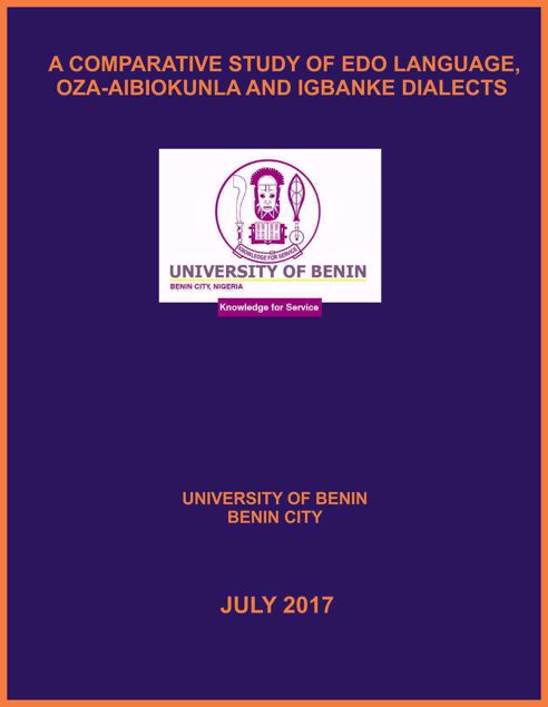 Picture of A COMPARATIVE ANALYSIS OF OZA-AIBIOKUNLA AND IGBANKE DIALECTS OF EDO LANGUAGE