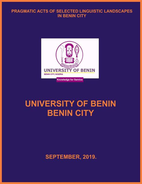 Picture of PRAGMATIC ACTS OF SELECTED LINGUISTIC LANDSCAPES IN BENIN CITY