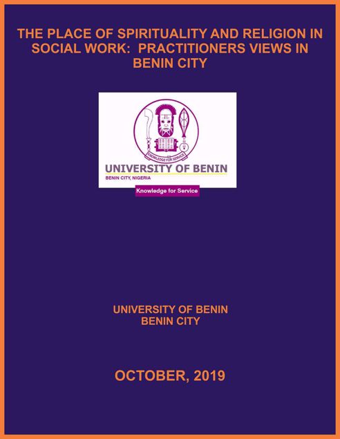 Picture of THE PLACE OF SPIRITUALITY AND RELIGION IN SOCIAL WORK:  PRACTITIONERS VIEWS IN BENIN CITY