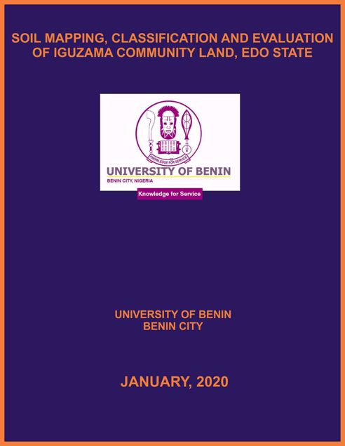 Picture of SOIL MAPPING, CLASSIFICATION AND EVALUATION OF IGUZAMA COMMUNITY LAND, EDO STATE