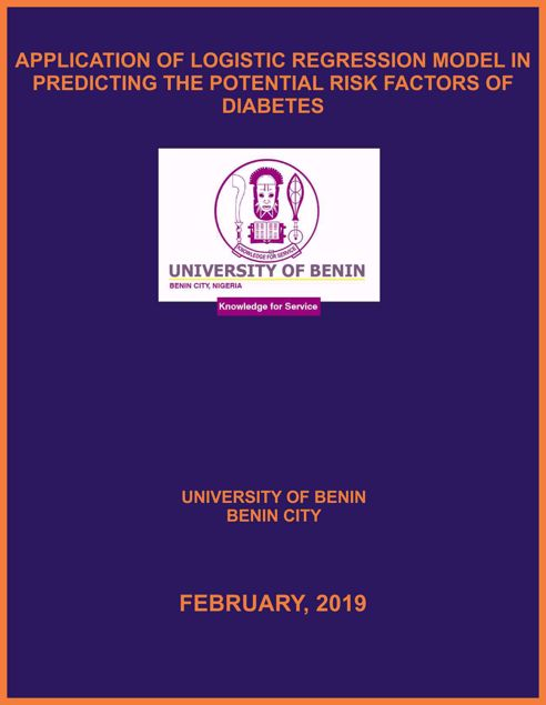 Picture of APPLICATION OF LOGISTIC REGRESSION MODEL IN PREDICTING THE POTENTIAL RISK FACTORS OF DIABETES