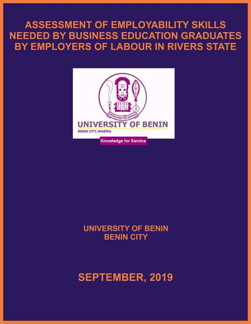 Picture of ASSESSMENT OF EMPLOYABILITY SKILLS NEEDED BY BUSINESS EDUCATION GRADUATES BY EMPLOYERS OF LABOUR IN RIVERS STATE