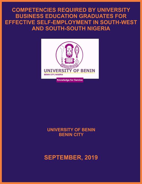 Picture of COMPETENCIES REQUIRED BY UNIVERSITY BUSINESS EDUCATION GRADUATES FOR EFFECTIVE SELF-EMPLOYMENT IN SOUTH-WEST AND SOUTH-SOUTH NIGERIA