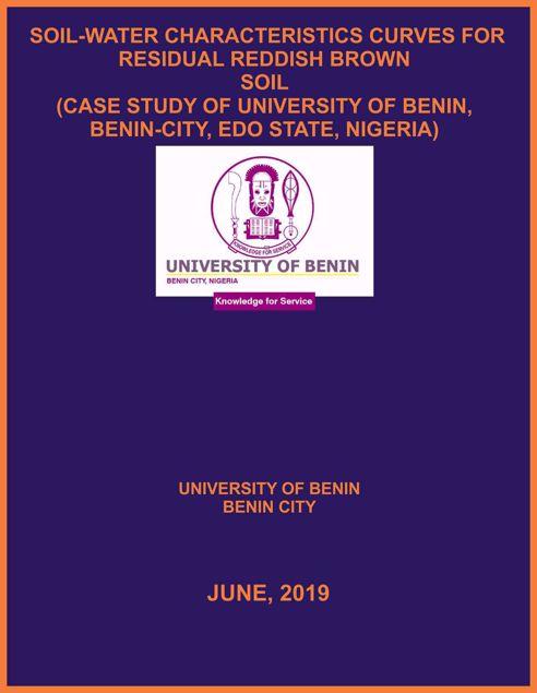Picture of SOIL-WATER CHARACTERISTICS CURVES FOR RESIDUAL REDDISH BROWN  SOIL (CASE STUDY OF UNIVERSITY OF BENIN, BENIN-CITY, EDO STATE, NIGERIA)
