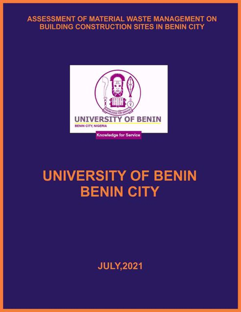 Picture of ASSESSMENT OF MATERIAL WASTE MANAGEMENT ON BUILDING CONSTRUCTION SITES IN BENIN CITY